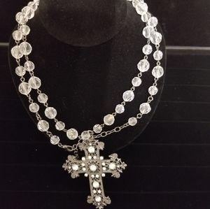 Long rhinestone beaded cross necklace